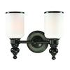 ELK lighting Bristol Way 2 Light Vanity In Oil Rubbed Bronze And Opal White Glass