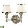 ELK lighting Smithfield 2 Light LED Vanity In Brushed Nickel And Opal White Glass