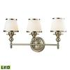 Smithfield 3 Light LED Vanity In Brushed Nickel And Opal White Glass