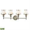 ELK lighting Smithfield 4 Light LED Vanity In Brushed Nickel And Opal White Glass