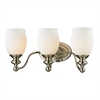 ELK lighting Park Ridge 3 Light Vanity In Polished Nickel And Reeded Glass