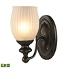 ELK lighting Park Ridge 1 Light LED Vanity In Oil Rubbed Bronze And Reeded Glass