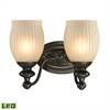 ELK lighting Park Ridge 2 Light LED Vanity In Oil Rubbed Bronze And Reeded Glass