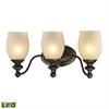 ELK lighting Park Ridge 3 Light LED Vanity In Oil Rubbed Bronze And Reeded Glass