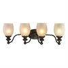 Park Ridge 4 Light Vanity In Oil Rubbed Bronze And Reeded Glass