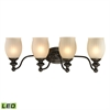ELK lighting Park Ridge 4 Light LED Vanity In Oil Rubbed Bronze And Reeded Glass