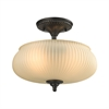 ELK lighting Park Ridge 2 Light Semi Flush In Oil Rubbed Bronze And Reeded Glass
