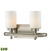 Dawson 2 Light LED Vanity In Brushed Nickel And Opal White Glass