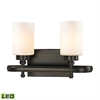 ELK lighting Dawson 2 Light LED Vanity In Oil Rubbed Bronze And Opal White Glass