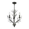 Crystal Branches 3 Light Chandelier In Burnt Bronze