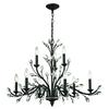 ELK lighting Crystal Branches 9 Light Chandelier In Burnt Bronze