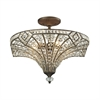 Jausten 5 Light Semi Flush In Antique Bronze