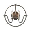 Stanton 2 Light Wall Sconce In Weathered Zinc With Brushed Nickel Accents