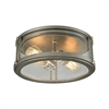 Coby 2 Light Flush In Weathered Zinc With Polished Nickel Accents