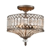 ELK lighting Paola 3 Light Semi Flush In Weathered Zinc