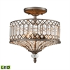 Paola 3 Light LED Semi Flush In Weathered Zinc