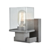 Hotelier 1 Light Vanity In Weathered Zinc With Clear Glass