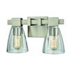 Ensley 2 Light Vanity In Satin Nickel With Clear Glass