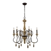 Dimond Lighting Salon de Provence Chandelier Natural Woodtone,Aged Iron
