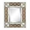 Antique Glass Framed Mirror With Silver Scroll Work