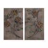 Sterling Finningley-Set Of 2 Wooden Wall Panel With Hand painted Metal Flowers