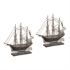 Sterling Set Of 2 Architectural Ship Statuary