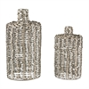 Sterling Set Of 2 Metal Work Vases