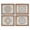 Set of 4 Geometric Wirework Framed Wall Art