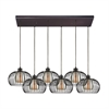 Yardley 6 Light Rectangle Fixture In Oil Rubbed Bronze With Mercury Glass