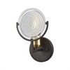 Ocular 1 Light Vanity In Oil Rubbed Bronze With Satin Brass Accents And Clear Railroad Light Glass
