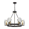 Ocular 6 Light Chandelier In Oil Rubbed Bronze With Satin Brass Accents And Clear Railroad Light Glass