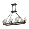 Ocular 8 Light Chandelier In Oil Rubbed Bronze With Satin Brass Accents And Clear Railroad Light Glass