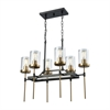 North Haven 6 Light Chandelier In Oil Rubbed Bronze With Satin Brass Accents And Clear Glass