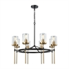 North Haven 8 Light Chandelier In Oil Rubbed Bronze With Satin Brass Accents And Clear Glass