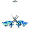 Refraction 6 Light Chandelier In Polished Chrome And Carribean Glass