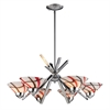 ELK lighting Refraction 6 Light Chandelier In Polished Chrome And Creme White Glass