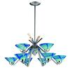 ELK lighting Refraction 9 Light Chandelier In Polished Chrome And Carribean Glass