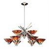 ELK lighting Refraction 9 Light Chandelier In Polished Chrome And Jasper Glass