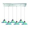 ELK lighting Refraction 6 Light Pendant In Polished Chrome And Caribbean Glass