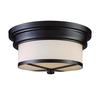 ELK lighting Flushmounts 2 Light Flushmount In Oiled Bronze And Opal White Glass