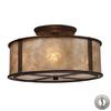 Barringer 3 Light Semi Flush In Aged Bronze And Tan Mica With Adapter Kit