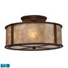 ELK lighting Barringer 3 Light LED Semi Flush In Aged Bronze And Tan Mica