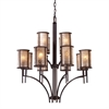 ELK lighting Barringer 8+4 Light Chandelier In Aged Bronze And Tan Mica