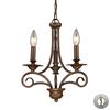 Gloucester 3 Light Chandelier In Weathered Bronze - Includes Recessed Lighting Kit