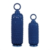 Set Of 2 Lidded Ceramic Jars In Navy Blue