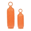 Set Of 2 Lidded Ceramic Jars In Tangerine Orange