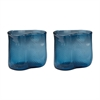 Fish Net Glass Vases In Navy - Set of 2
