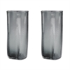 Etched Glass Vases In Grey - Set of 2