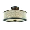 Glass Beads 3 Light Semi Flush In Oil Rubbed Bronze With Clear Glass Balls