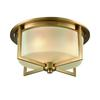 Vancourt 3 Light Flush In Satin Brass With Frosted Glass